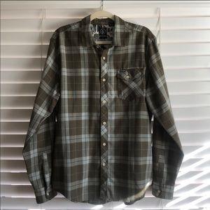 Men's Volcom Window Pane Dress Shirt - Large